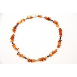 Amber collar with colorful beads (60-65cm)