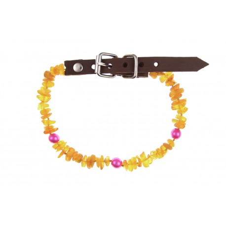 Amber collar with leather strap and colorful beads (25-30cm)