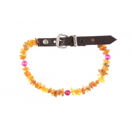 Amber collar with leather strap and colorful beads (30-35cm)
