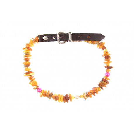 Amber collar with leather strap and colorful beads (35-40cm)
