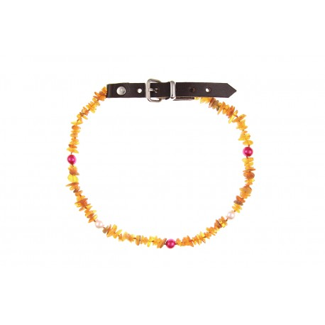 Amber collar with leather strap and colorful beads(40-45cm)