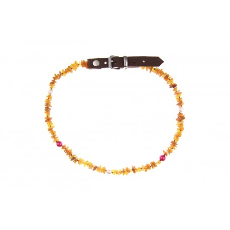 Amber collar with leather strap and beads (50-55cm)