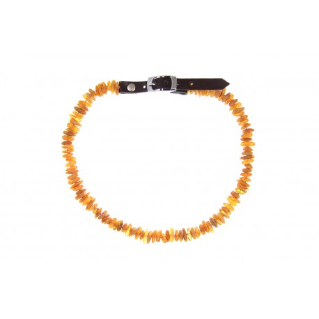 Amber collar with leather strap (50-55cm)