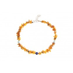 Amber collar with colorful beads (30-35cm)