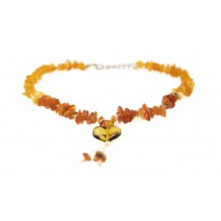 (25-30cm) Amber jewelry with a heart for your pets